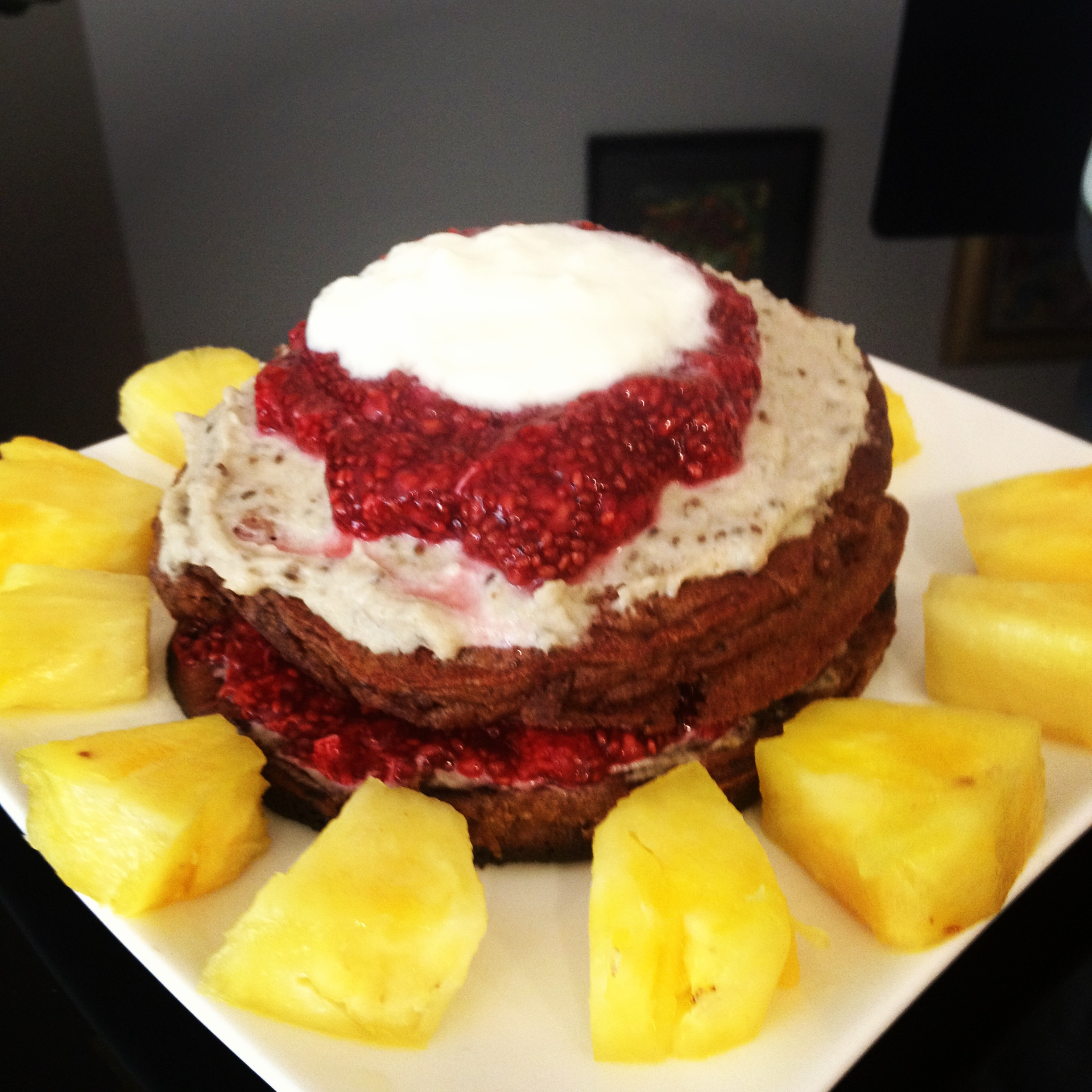 Grain free Pure Cacao and coconut cream pancakes with cashew cream and ...
